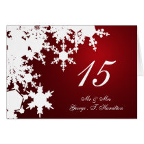 red snowflakes winter wedding table seating card
