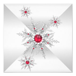 Red Snowflakes Winter Wonderland Birthday Party Invitation