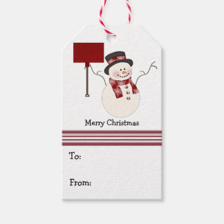 Red Snowman Christmas Gift Tags