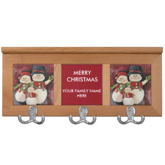 Red Snowman Family and baby Coat Rack