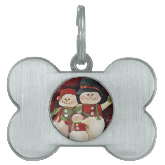 Red Snowman Family Pet ID Tag