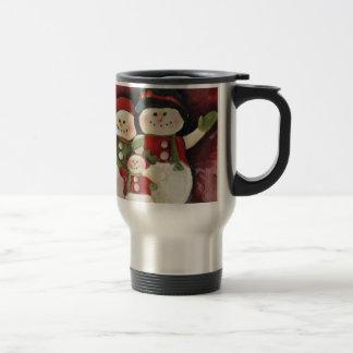 Red Snowman Family Travel Mug