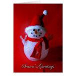 Red Snowman Seasons Greetings Card