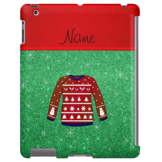 Red snowman ugly christmas sweater green glitter
