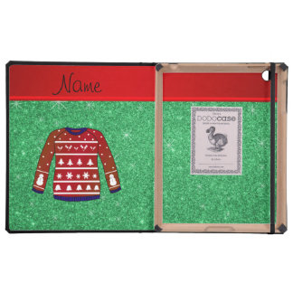 Red snowman ugly christmas sweater green glitter cover for iPad