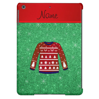Red snowman ugly christmas sweater green glitter iPad air cover