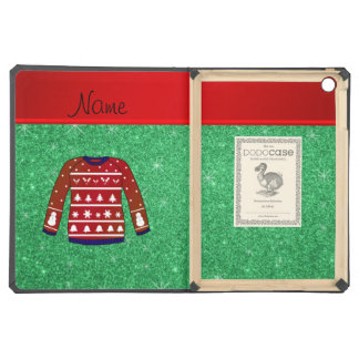 Red snowman ugly christmas sweater green glitter cover for iPad air