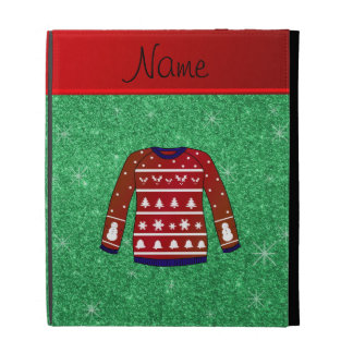 Red snowman ugly christmas sweater green glitter iPad case