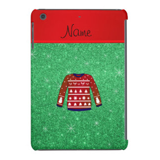 Red snowman ugly christmas sweater green glitter iPad mini covers