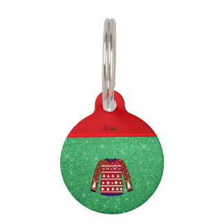 Red snowman ugly christmas sweater green glitter pet ID tags