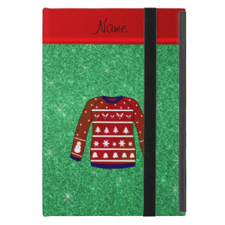 Red snowman ugly christmas sweater green glitter iPad mini cases
