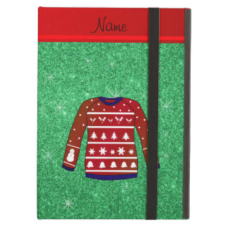 Red snowman ugly christmas sweater green glitter iPad air case