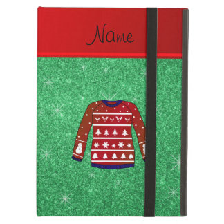 Red snowman ugly christmas sweater green glitter case for iPad air