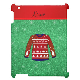 Red snowman ugly christmas sweater green glitter cover for the iPad