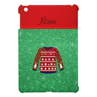Red snowman ugly christmas sweater green glitter iPad mini cover