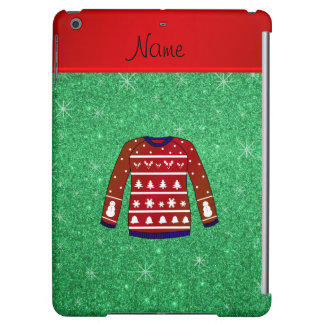 Red snowman ugly christmas sweater green glitter iPad air covers