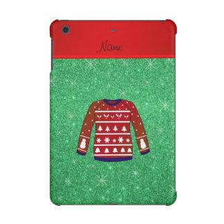 Red snowman ugly christmas sweater green glitter iPad mini retina case