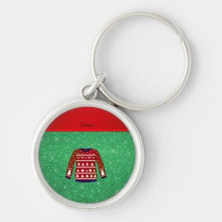 Red snowman ugly christmas sweater green glitter Silver-Colored round keychain