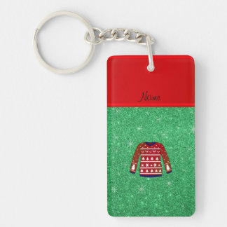 Red snowman ugly christmas sweater green glitter Single-Sided rectangular acrylic keychain
