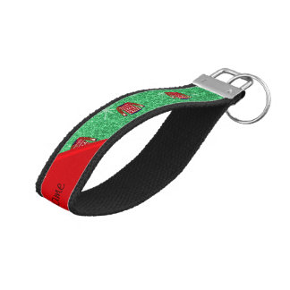 Red snowman ugly christmas sweater green glitter wrist keychain