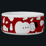 """Red snowmen bowl<br><div class=""""desc"""">Cute cartoon snowman with black hat,  stick arms,  black buttons and an orange carrot nose,  with a red background pattern background. Cute snowman gift ideas for kids and girls and boys. Cute christmas snowman gift ideas.</div>"""