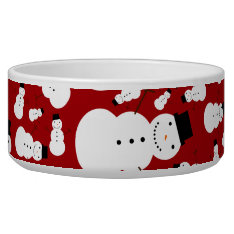 Red snowmen bowl at Zazzle