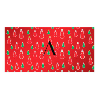Red Snowmen Monogram Personalized Photo Card