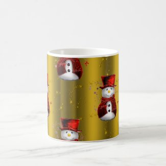 Red Snowmen on Gold Coffee Mug