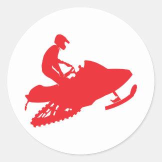 Red-Snowmobiler Classic Round Sticker