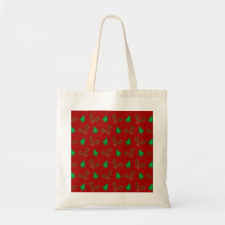 red snowshoe pattern canvas bag