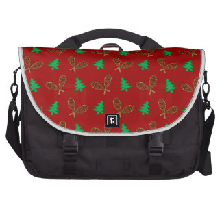 red snowshoe pattern laptop messenger bag