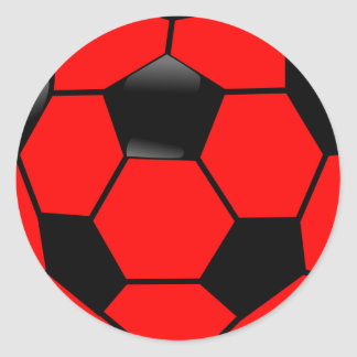 Red Soccer Ball Classic Round Sticker
