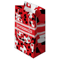 Red Soccer Ball Collage | Personalize Small Gift Bag