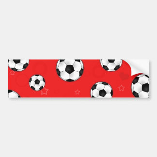 Red Soccer Ball Pattern Bumper Sticker