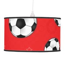 Red Soccer Ball Pattern Pendant Lamp
