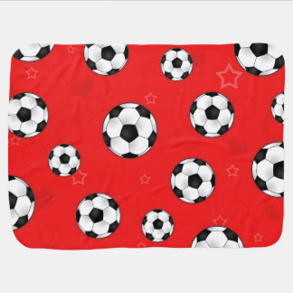 Red Soccer Ball Pattern Baby Blankets