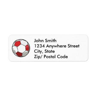 Red Soccer ball sketch Label