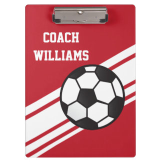Red Soccer Coach Personalized Clipboard