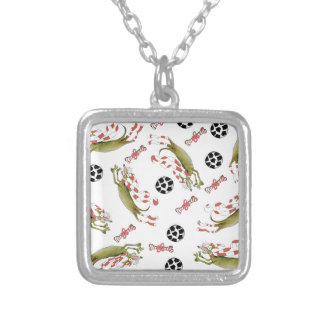 red soccer dog bones balls silver plated necklace