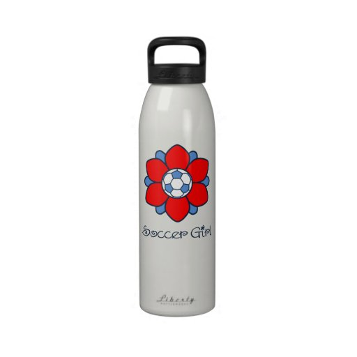 Red Soccer Girl Water Bottle