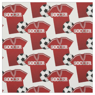 Red Soccer Jersey and Soccer Ball Fabric