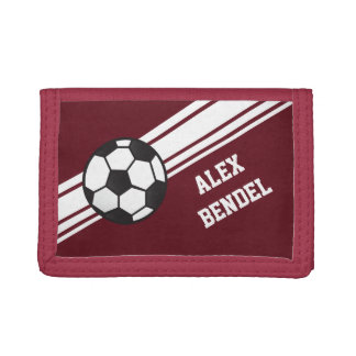 Red Soccer Sporty Sport Stripes Boys Wallet