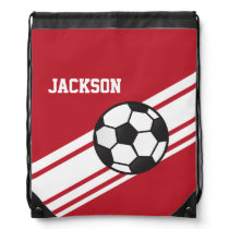 Red Soccer Stripes Drawstring Bag