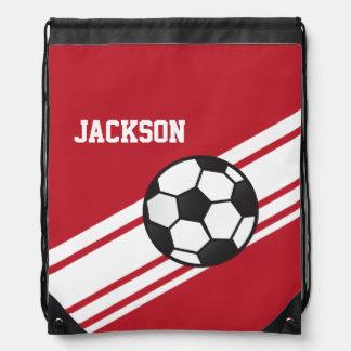 Red Soccer Stripes Drawstring Bag