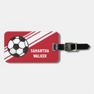 Red Soccer Stripes Personalized Luggage Tag