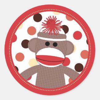 Red Sock Monkey Favor Sticker Seals - Baby Shower