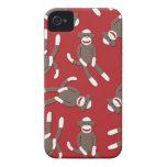 Red Sock Monkey Print iPhone 4 Covers