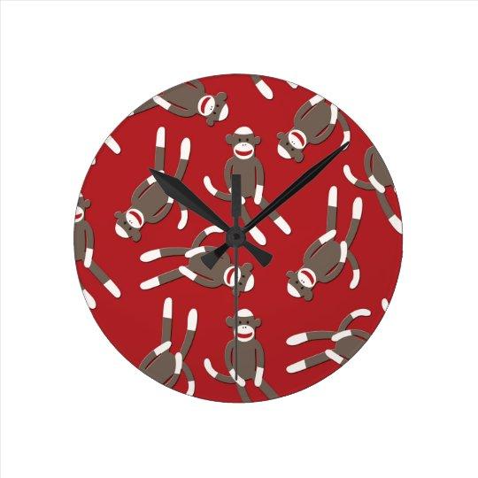 Red Sock Monkey Print Round Clock