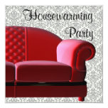 Red Sofa Damask Housewarming Party Invitation