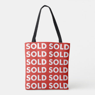 Red Sold Grocery Shopping Tote Bag